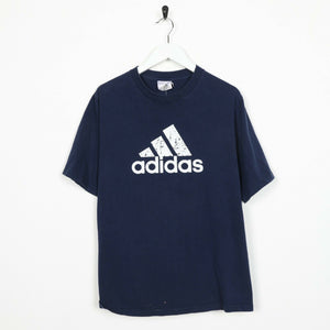 Vintage ADIDAS Big Logo Short Sleeve T Shirt Tee Blue | Small S
