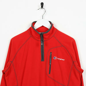 Vintage BERGHAUS Small Logo 1/4 Zip Fleece Top Red small S