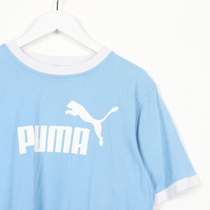 Vintage PUMA Central Spell Out Logo T Shirt Tee Pale Blue Large L