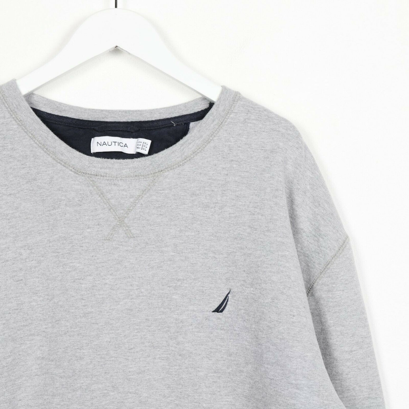 Vintage NAUTICA Small Logo Sweatshirt Jumper Grey | 2XL