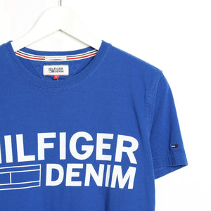 Vintage TOMMY HILFIGER DENIM Spell Out T Shirt Tee Blue Small S
