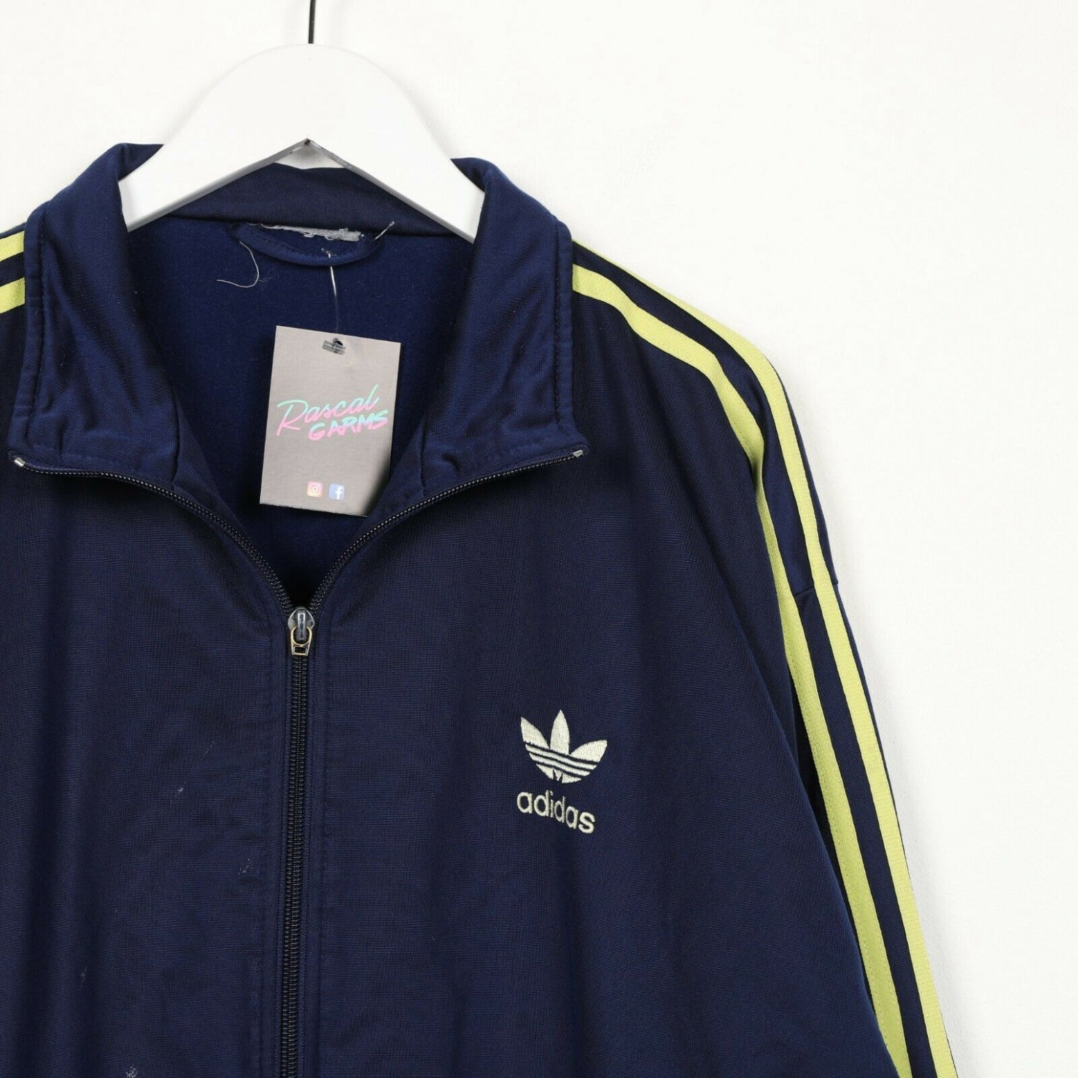 Vintage ADIDAS Small Logo Track Top Jacket Navy Blue Large L