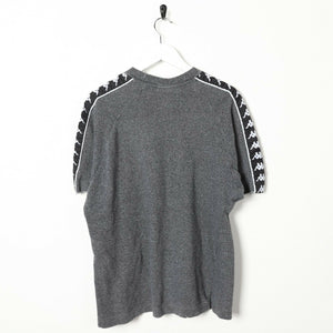 Vintage KAPPA Tape Arm Coord Set Shorts T Shirt Tee Grey Black | Small S