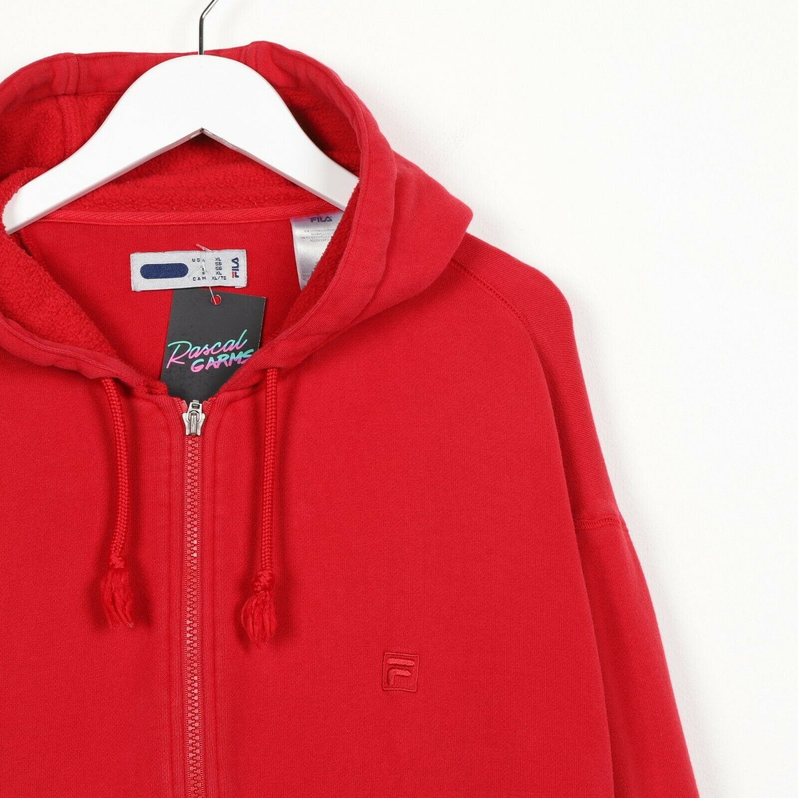Vintage FILA Small Logo Zip Up Hoodie Sweatshirt Red XL