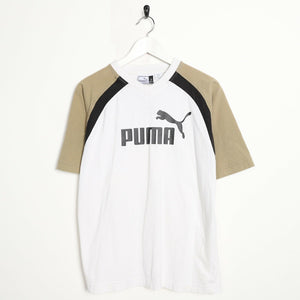 Vintage 90's PUMA Central Spell Out Logo T Shirt Tee White Beige | Small S