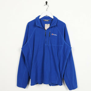 Vintage BERGHAUS Small Logo 1/4 Zip Fleece Top Blue | XL