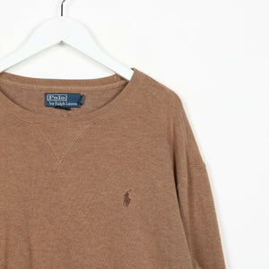 Vintage RALPH LAUREN Small Logo Knitted Sweatshirt Jumper Brown | Large L