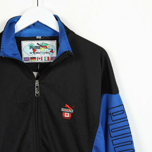 Vintage 90s PUMA Canada Sleeve Spell Out Track Top Jacket Blue Black Large L