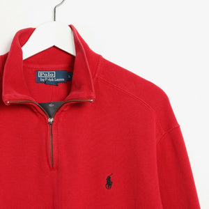 Vintage RALPH LAUREN 1/4 Zip Small Logo Sweatshirt Jumper Red Large L