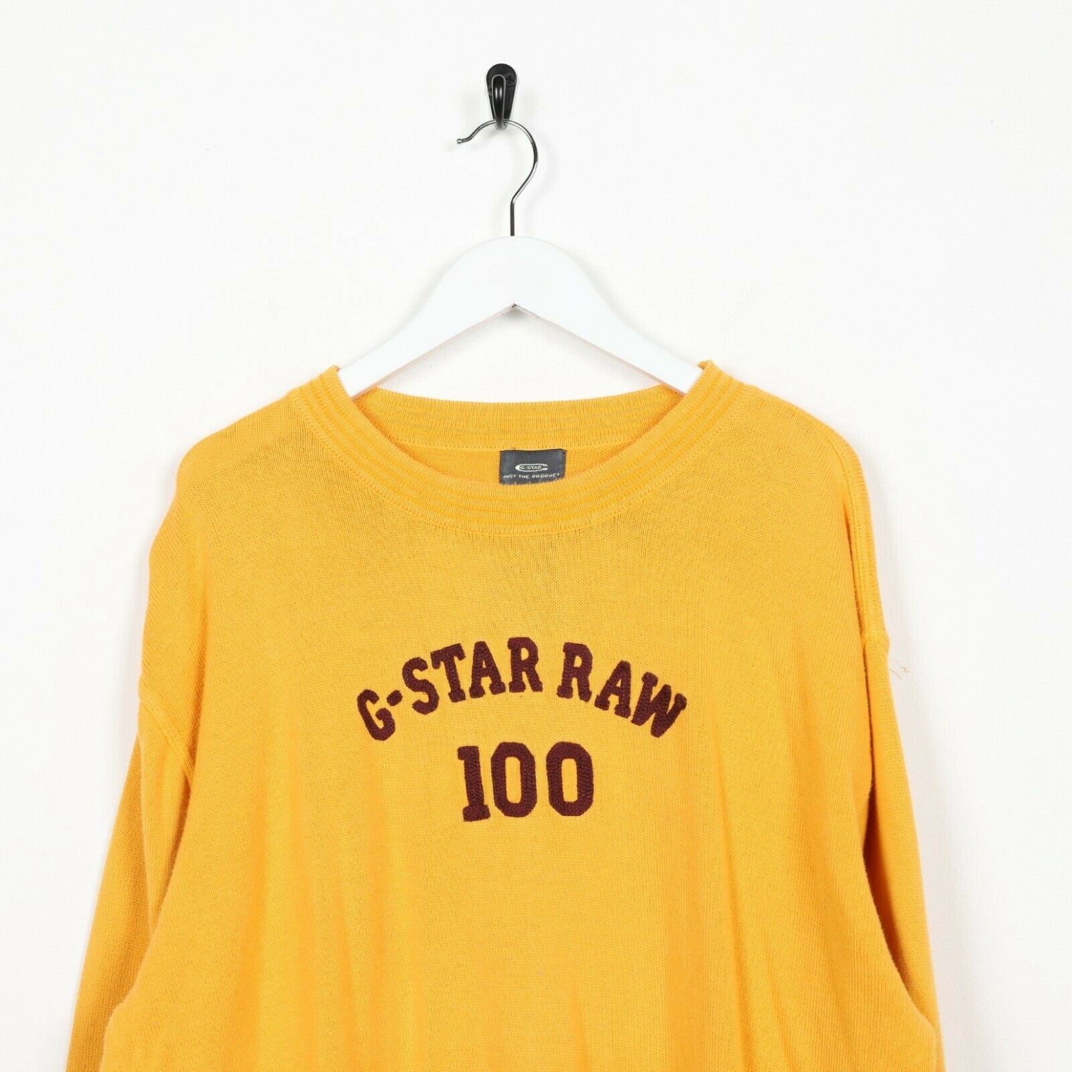 Vintage G-STAR Big Logo Knitted Sweatshirt Jumper Yellow | XL