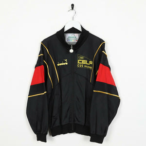 Vintage DIADORA Big Back Spell Out Track Top Jacket Black | Small S