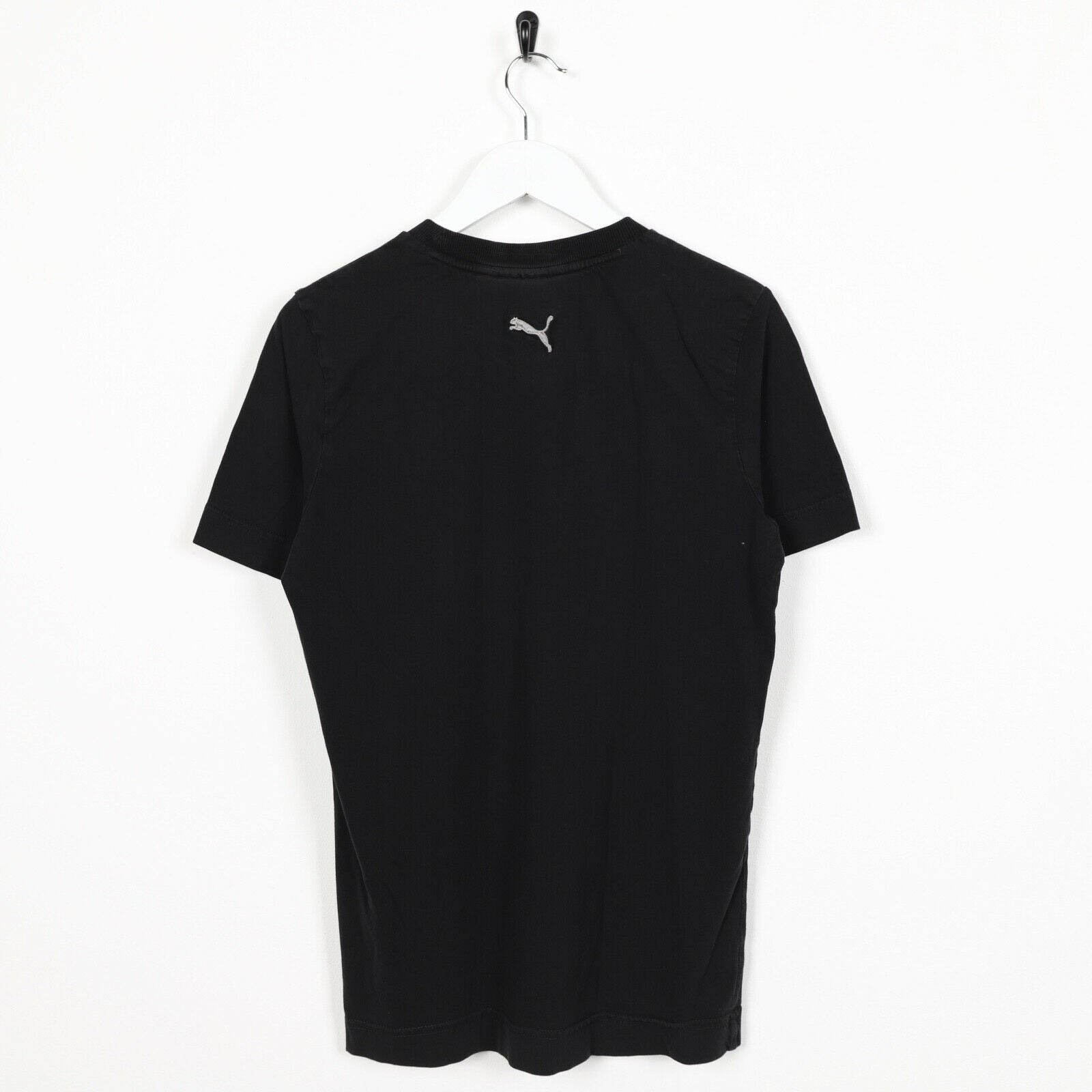 Vintage PUMA Central Spell Out Logo T Shirt Tee Black | XS