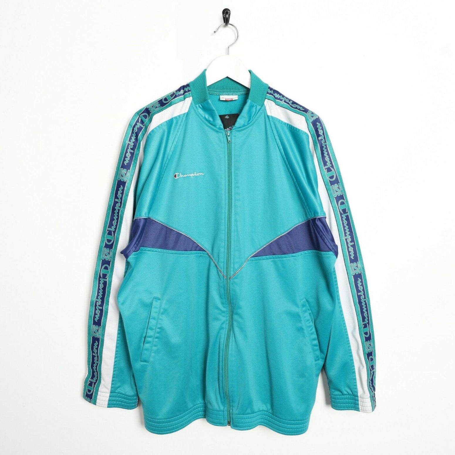 Vintage 90s CHAMPION Tape Arm Tracksuit Top Jacket Green | XL