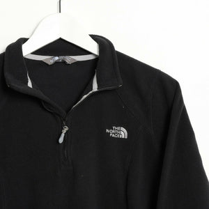 Vintage Women's THE NORTH FACE 1/4 Zip Small Logo Fleece Top Black | Medium M