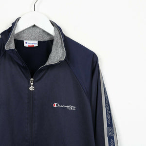 Vintage CHAMPION Small Logo Tape Arm Track Top Jacket Navy Blue | Small S