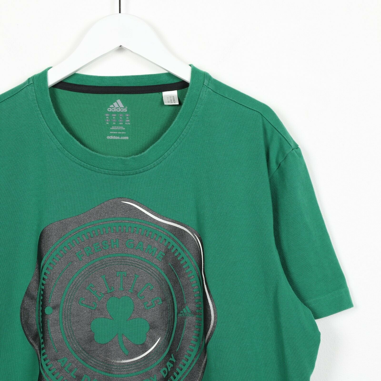 Vintage ADIDAS Boston Celtics Big Logo T Shirt Tee Green | XL
