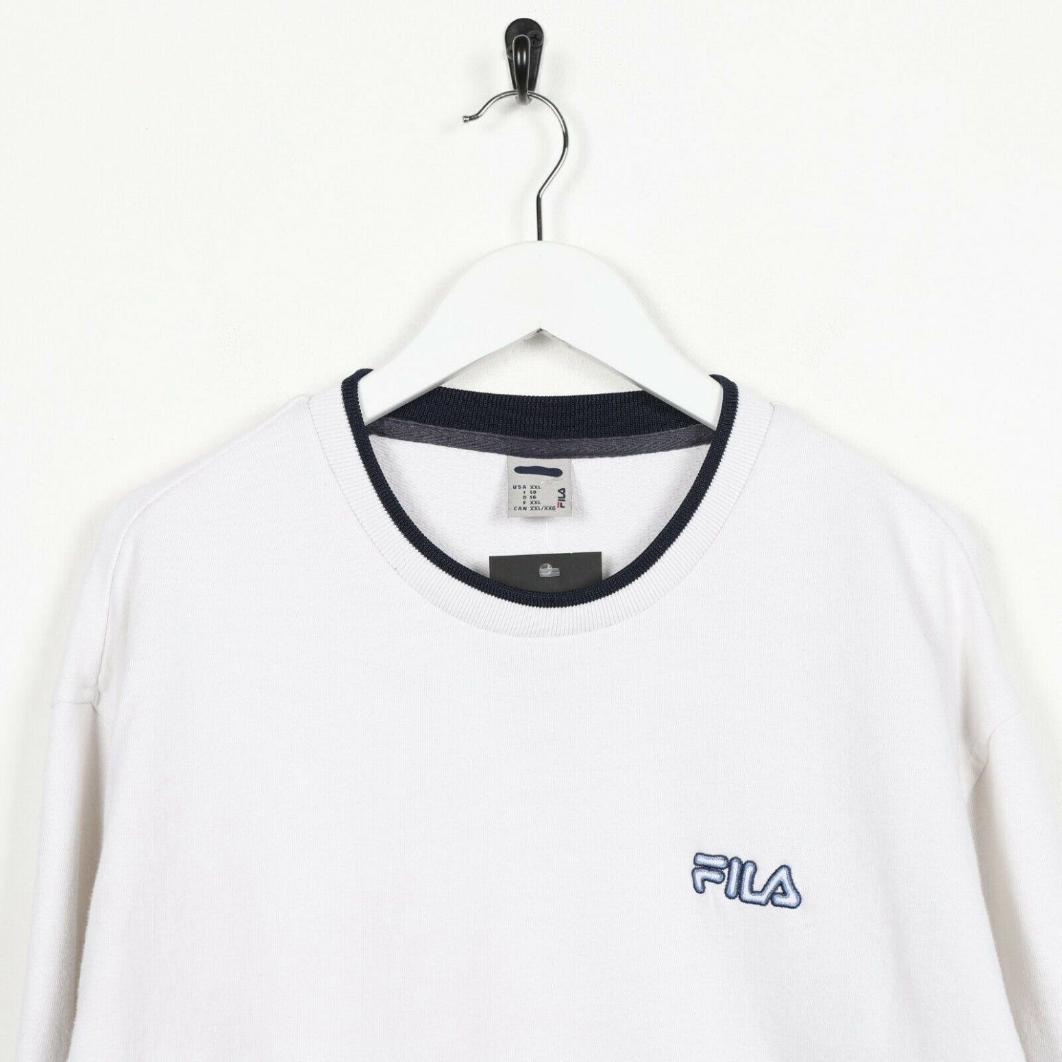 Vintage FILA Small Logo Sweatshirt Jumper White | 2XL