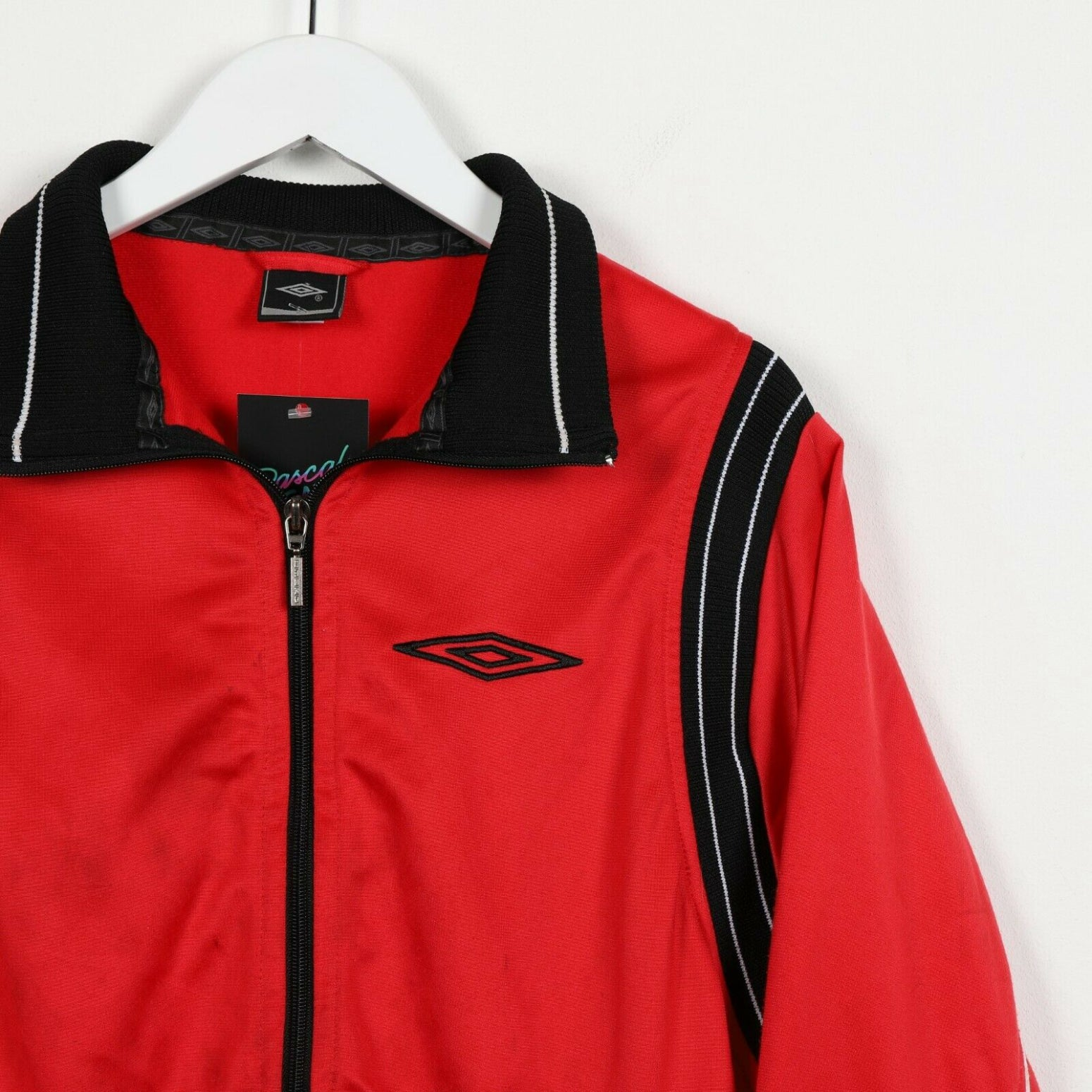 Vintage UMBRO Back Spell Out Zip Up Track Top Jacket Red | Small S