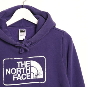 Vintage Women's THE NORTH FACE Big Logo Hoodie Sweatshirt Purple | Medium M