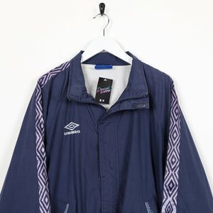 Vintage 90s UMBRO Small Logo Tape Arm Windbreaker Jacket Navy Blue Large L