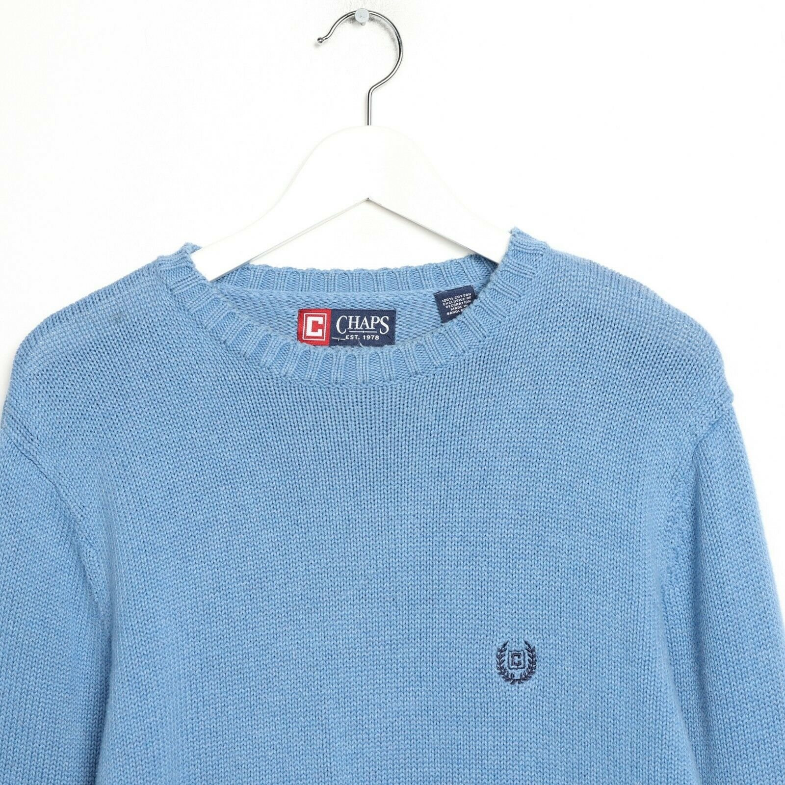 Vintage CHAPS RALPH LAUREN Crest Logo Knitted Sweatshirt Jumper Blue Medium M