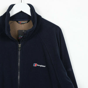 Vintage BERGHAUS Small Logo Zip Up Fleece Top Navy Blue small S