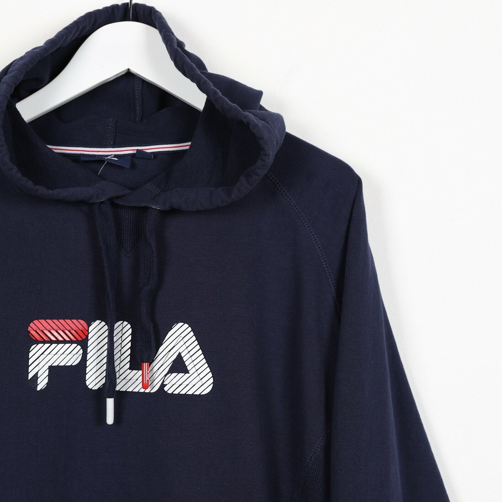 Vintage FILA Spell Out Hoodie Sweatshirt Navy Blue XL
