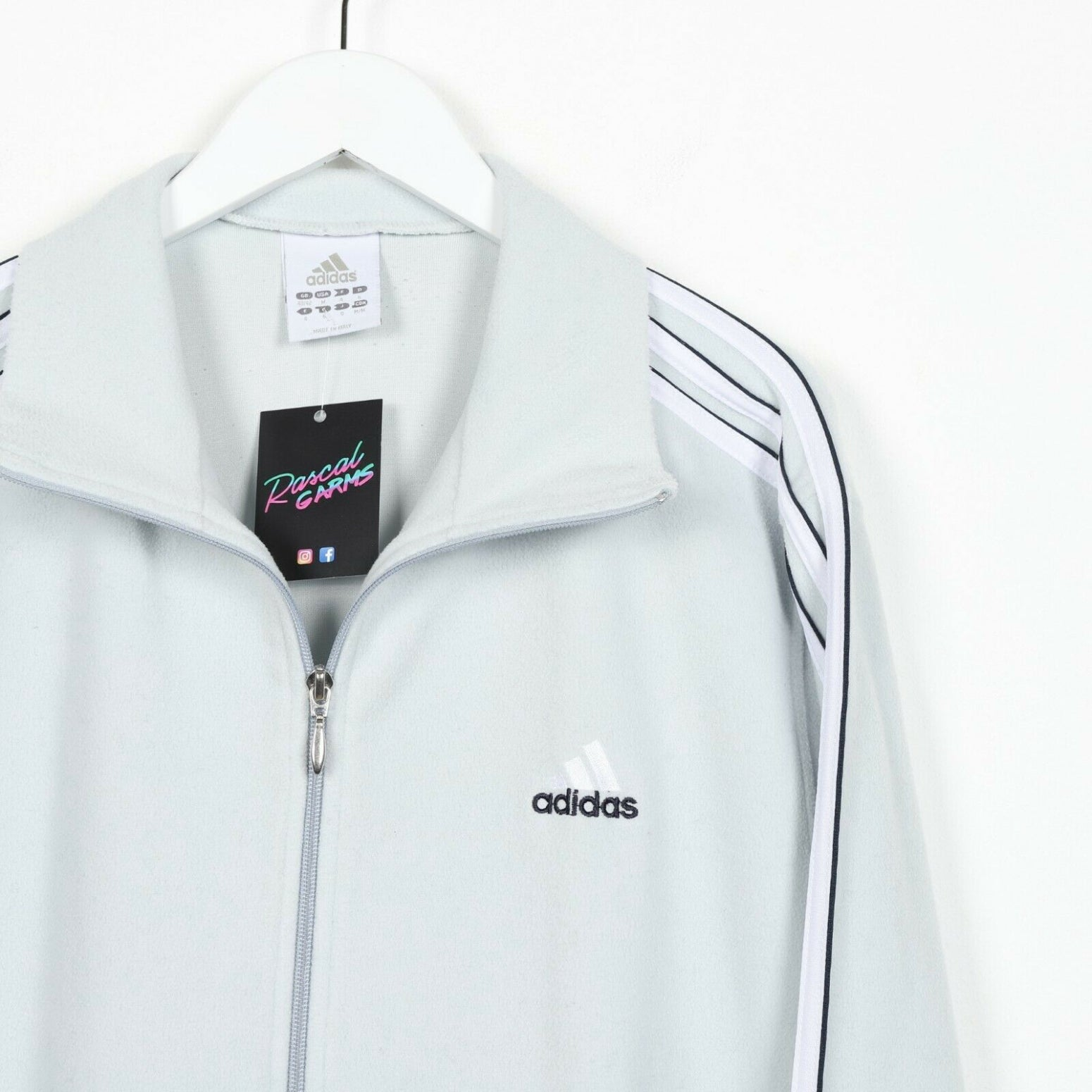 Vintage ADIDAS Small Logo Zip Up Fleece Top Light Blue | Large L