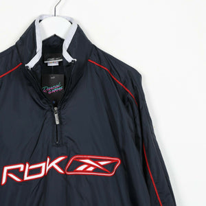 Vintage REEBOK Central Logo 1/4 Zip Windbreaker Anorak Jacket Blue Small S