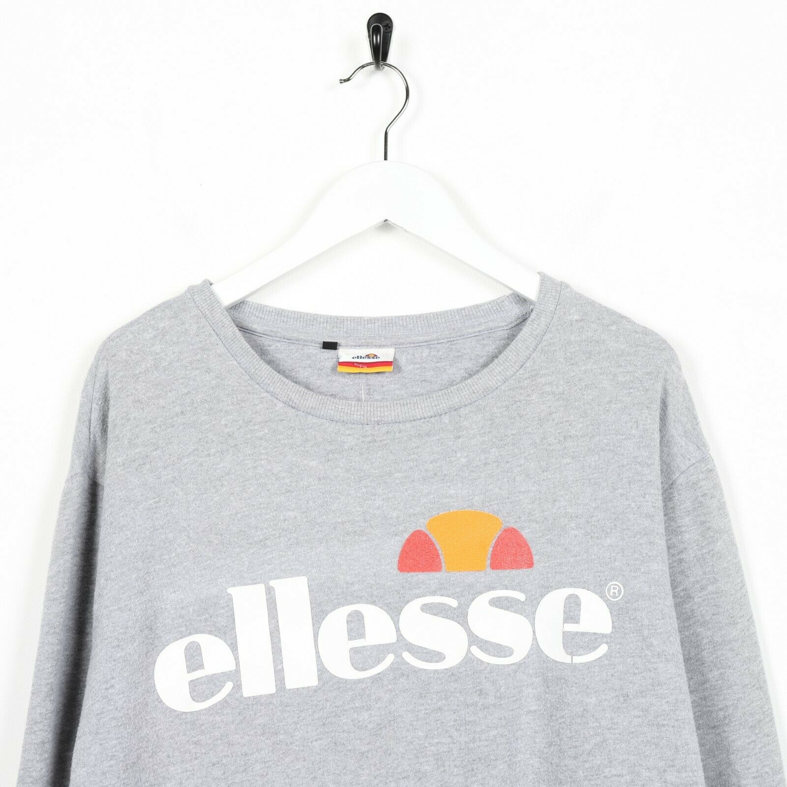 Vintage ELLESSE Big Logo Sweatshirt Jumper Grey | Large L