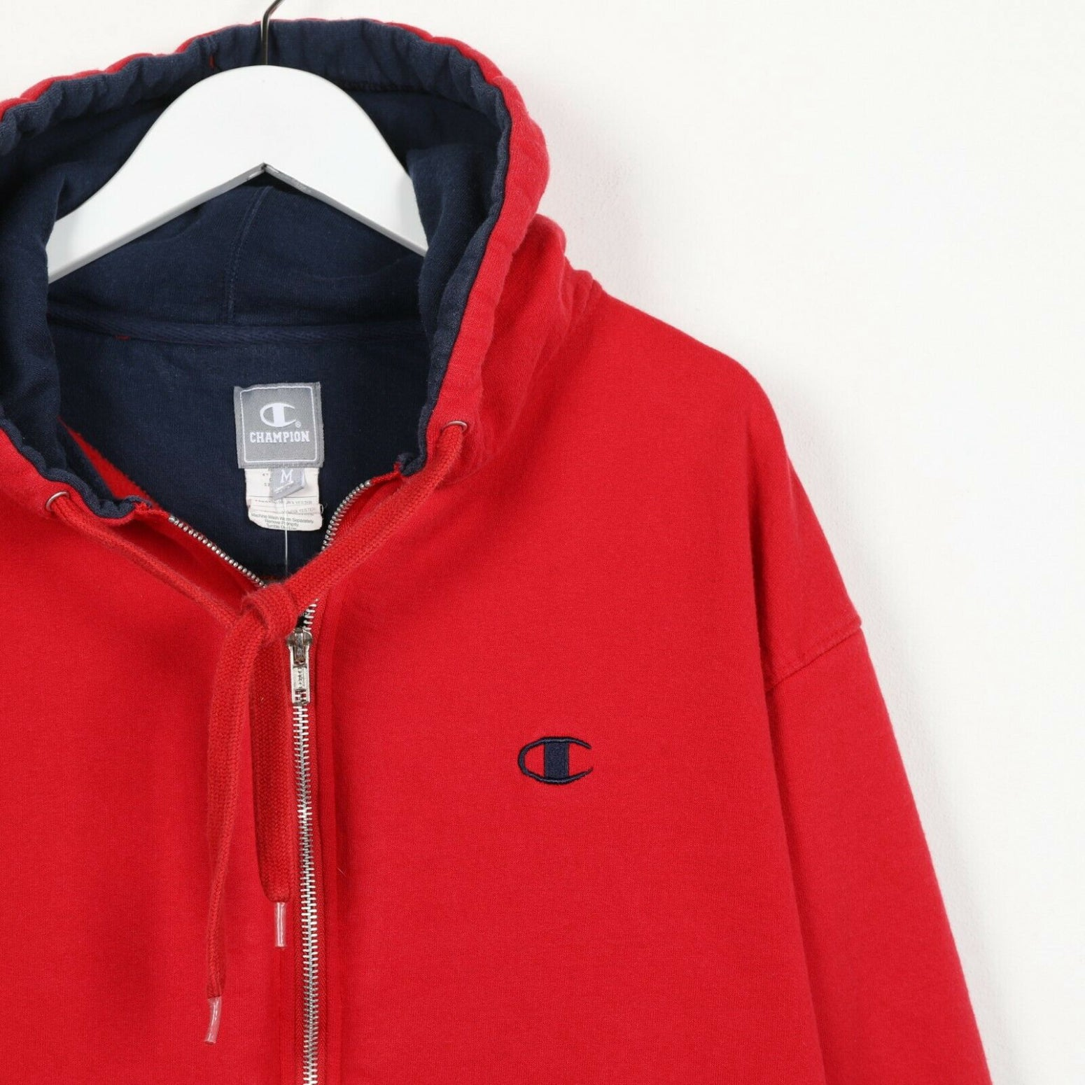 Vintage CHAMPION Small Logo Zip Up Hoodie Sweatshirt Red Medium M