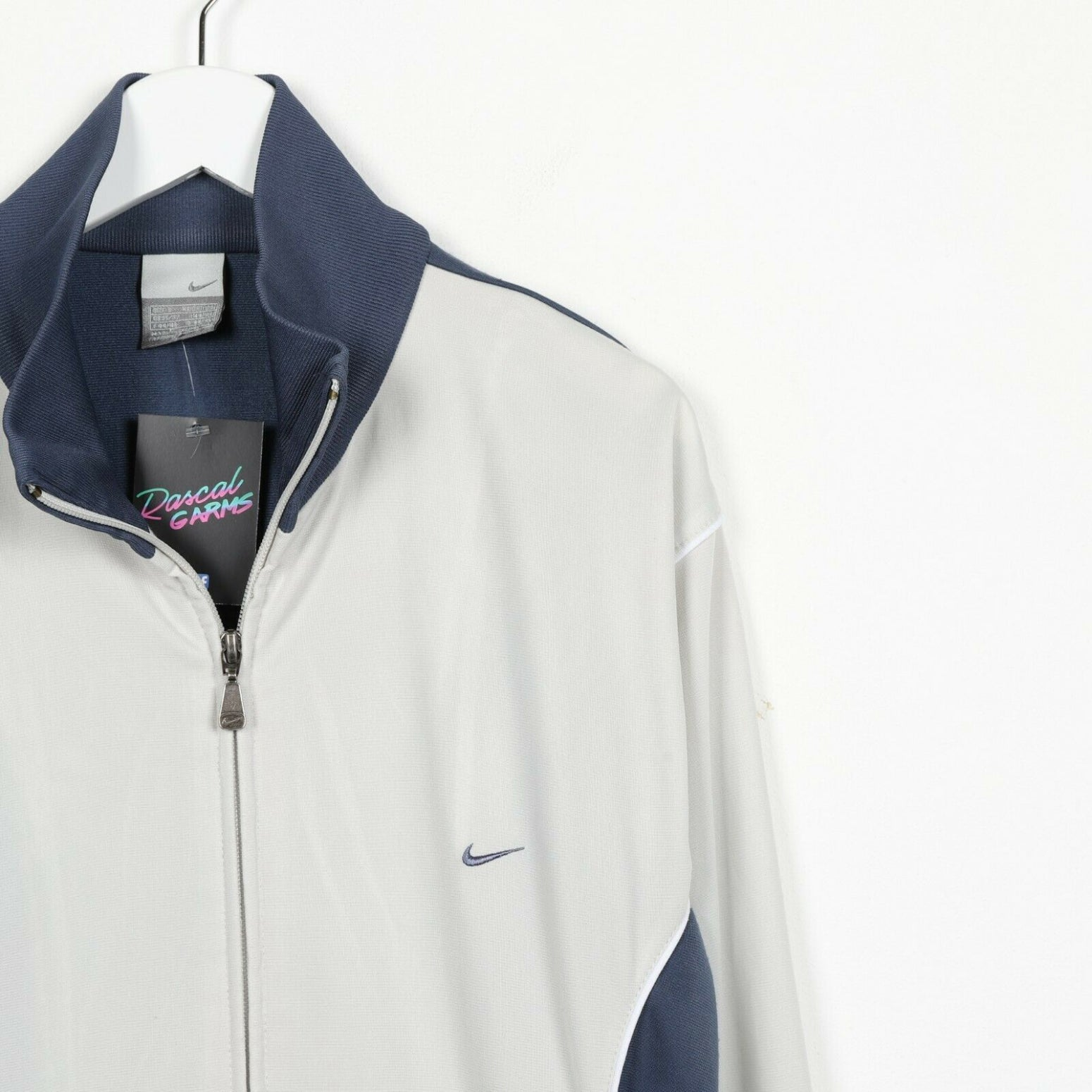 Vintage NIKE Small Logo Tracksuit Top Jacket Blue Silver | Small S