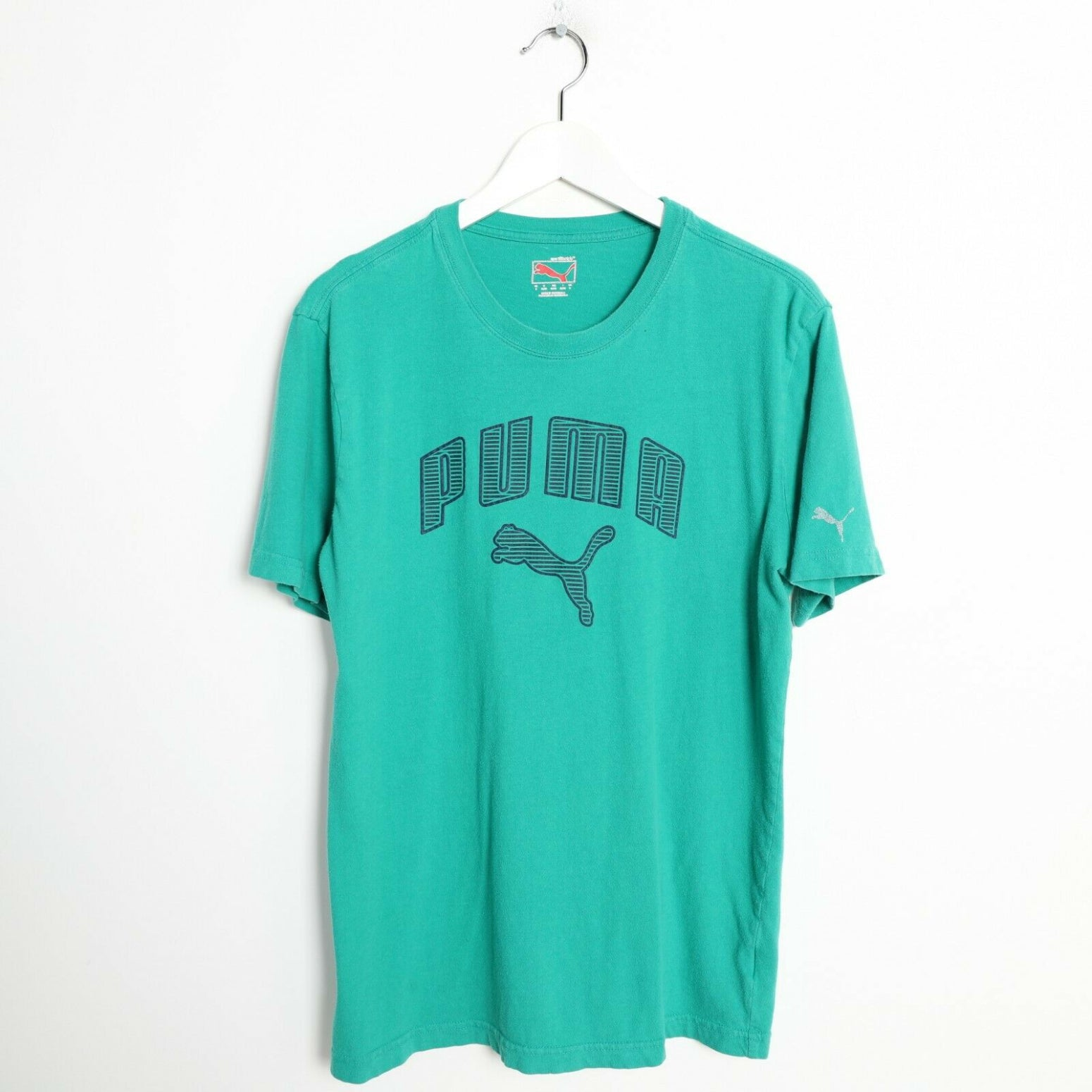 Vintage PUMA Spell Out Graphic T Shirt Tee Green Medium M