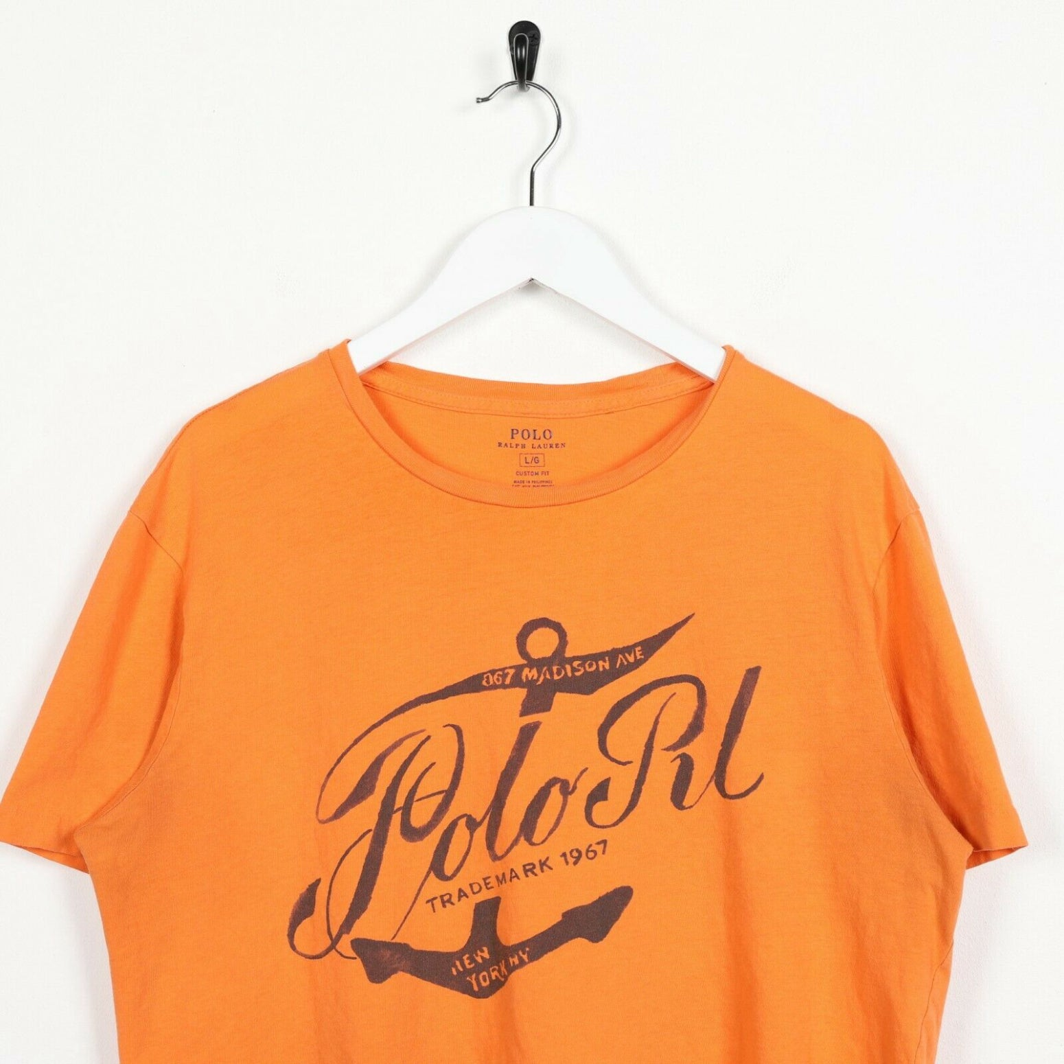 Vintage RALPH LAUREN Graphic T Shirt Tee Orange Medium M
