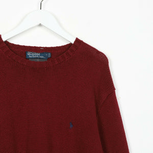 Vintage RALPH LAUREN Small Logo Knitted Sweatshirt Jumper Red | XL
