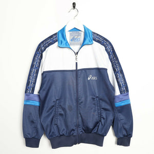 Vintage 90s ASICS Tape Arm Tracksuit Top Jacket Navy Blue White | Small S