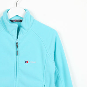Vintage Women's BERGHAUS Small Logo Zip Up Fleece Top Blue | Small S