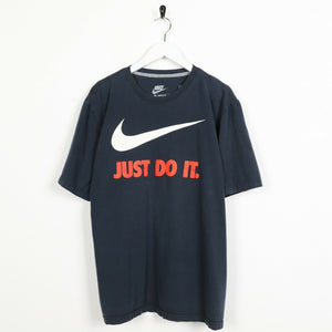 Vintage NIKE Just Do It Big Swoosh Logo T Shirt Tee Blue XL
