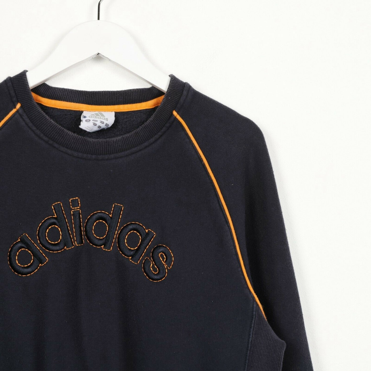 Vintage ADIDAS Big Logo Sweatshirt Jumper Blue Orange | Small S