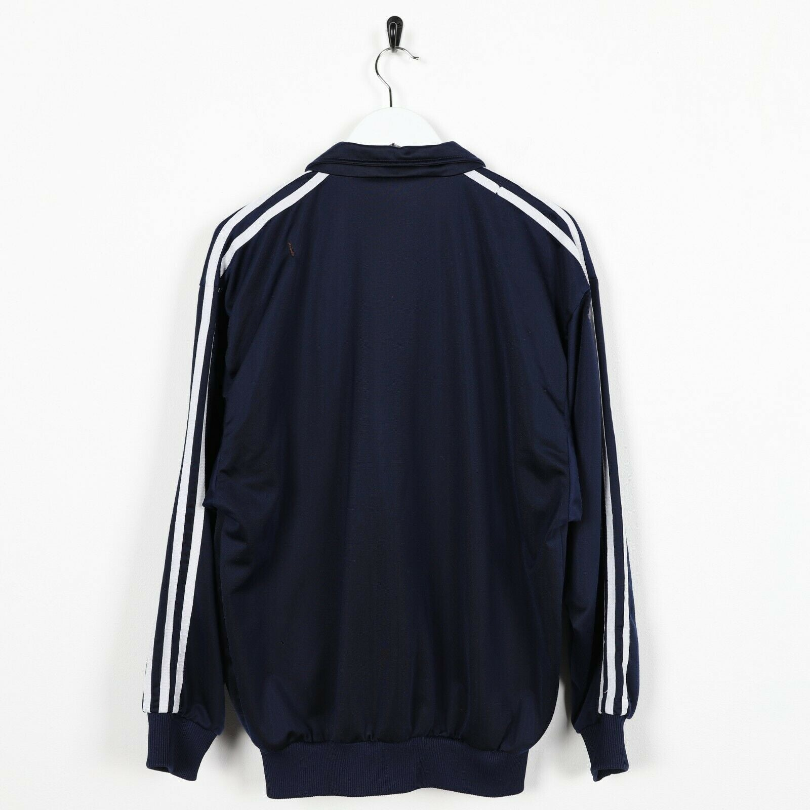 Vintage 80s ADIDAS Small Logo Track Top Jacket Navy Blue | Small S
