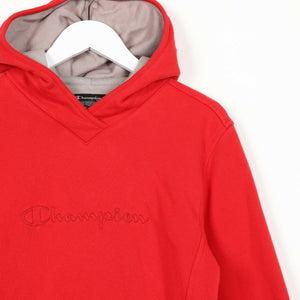 Vintage Women's CHAMPION Central Spell Out Hoodie Sweatshirt Red Medium M