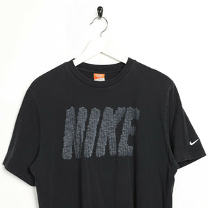 Vintage NIKE Big Spell Out Logo T Shirt Tee Black | Large L