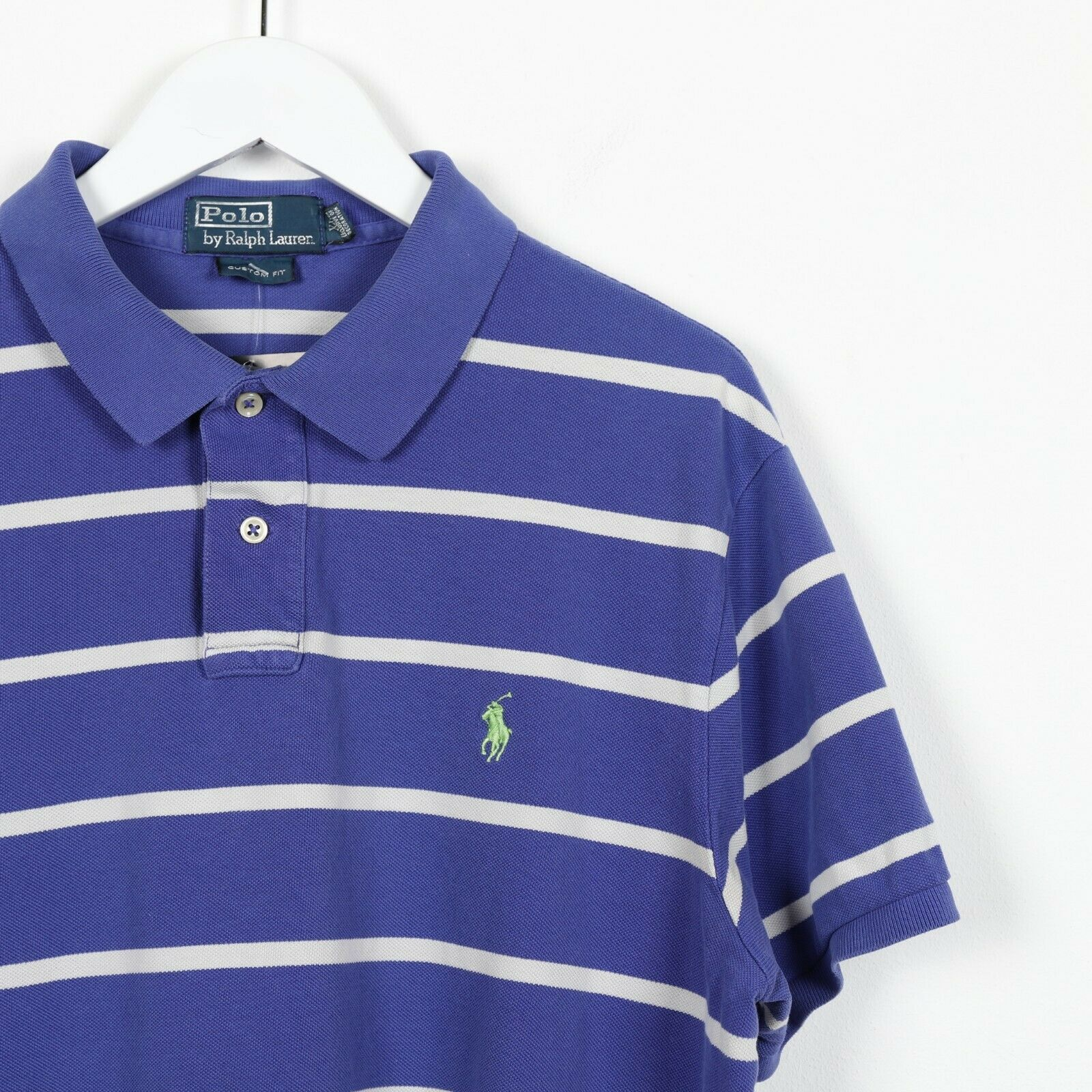 Vintage RALPH LAUREN Small Logo Striped Polo Shirt Top Blue White | XL