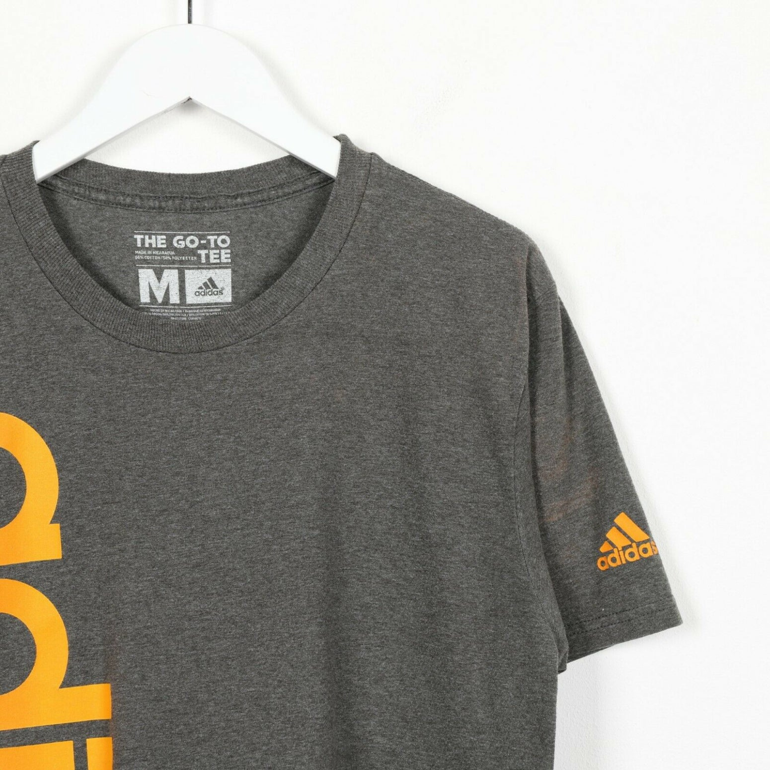 Vintage ADIDAS Big Graphic Logo T Shirt Tee Grey Orange Medium M