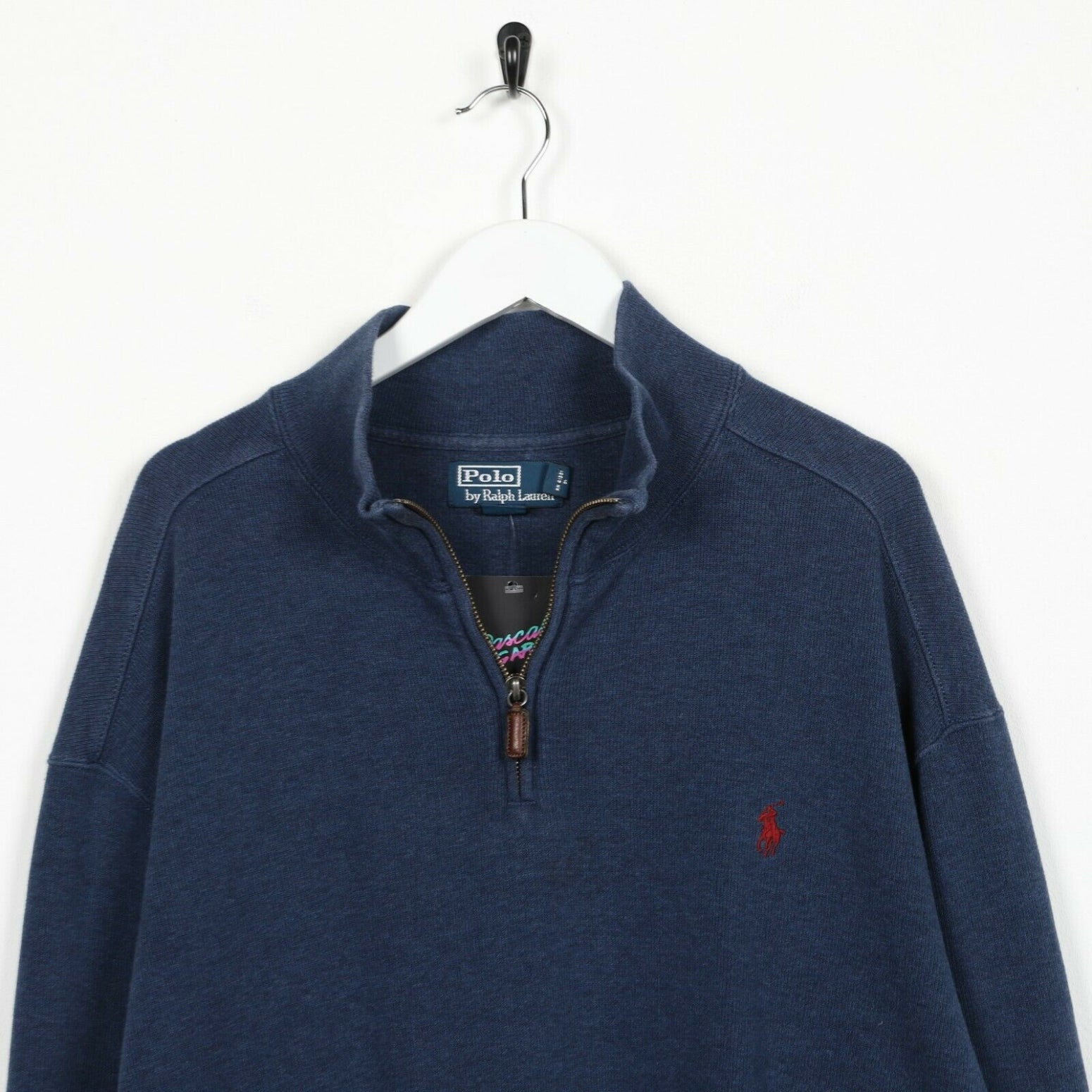 Vintage RALPH LAUREN Small Logo 1/4 Zip Sweatshirt Jumper Blue | 2XL