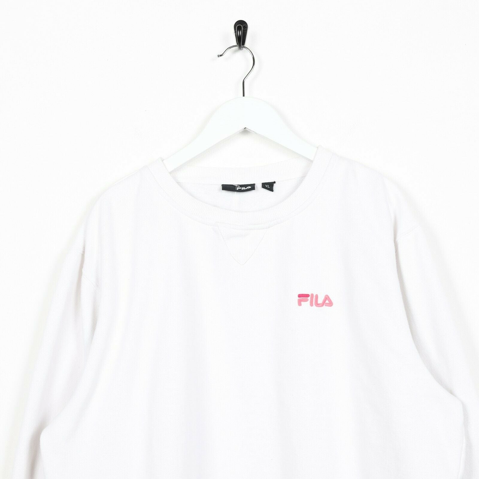 Vintage Women's FILA Small Logo Sweatshirt Jumper White | XL