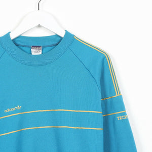 Vintage Women's 80s ADIDAS Small Logo Sweatshirt Jumper Blue | Medium M