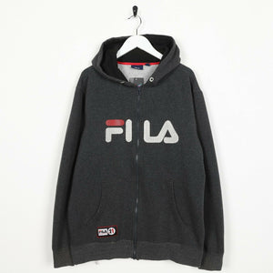 Vintage FILA Big Spell Out Zip Up Hoodie Sweatshirt Grey XL