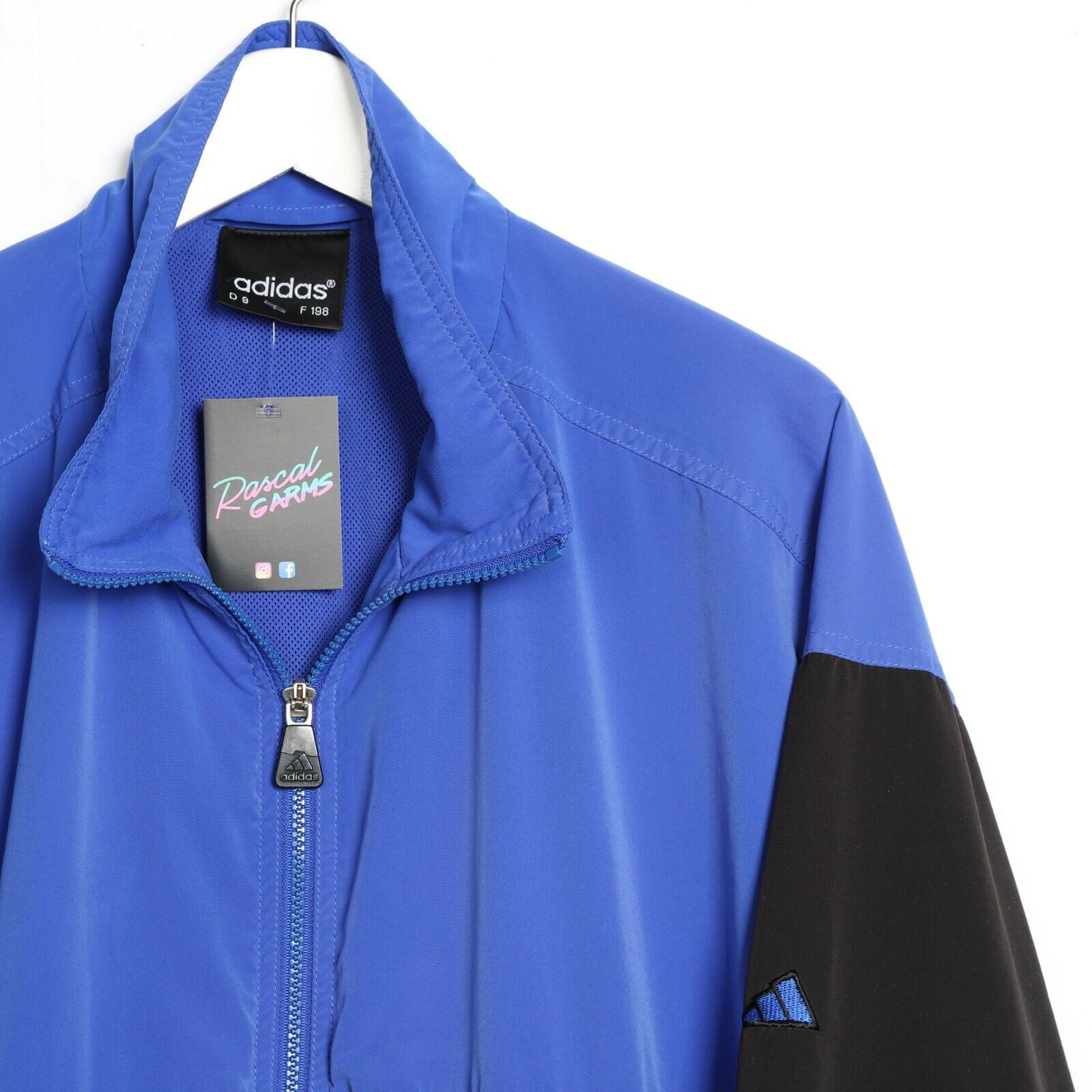 Vintage 80s ADIDAS Zip Up Windbreaker Jacket Blue Black XL