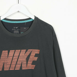 Vintage NIKE Big Spell Out T Shirt Tee Grey XL